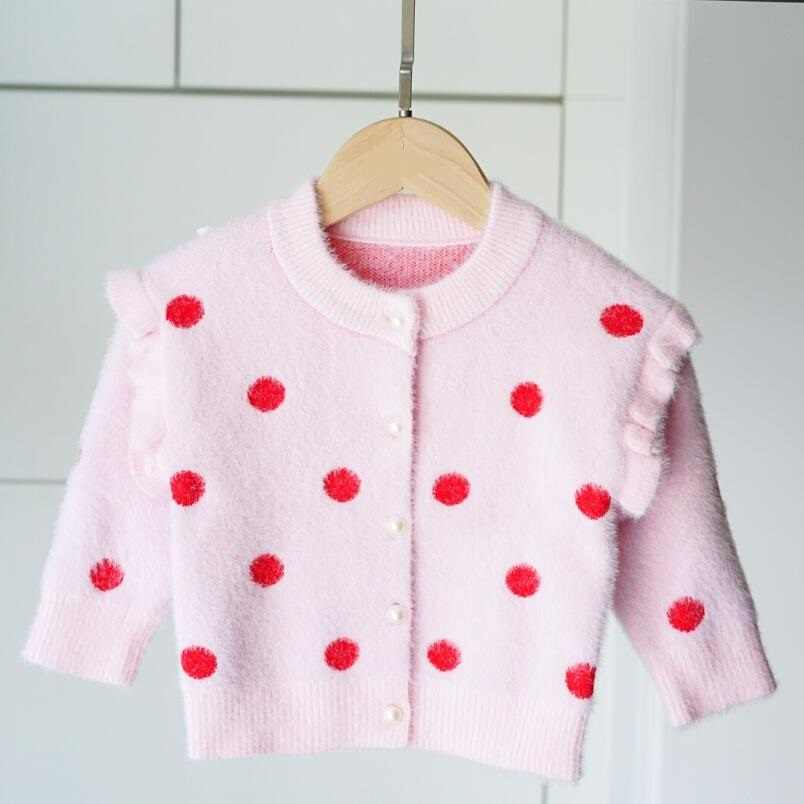 Wiosna jesień długie rękawy dziewczyny sweter dzieci sweter Dot drukuj dziewczyny odzież dla niemowląt dziecko maluch dziewczyna płaszcze i kurtki JW5017
