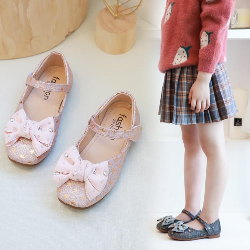 Çocuk ayakkabı prenses kız okul ayakkabısı Silvers pembe siyah çocuk deri parti elbise düz kızlar ayakkabı bebek sneaker