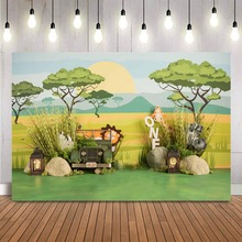 1st Sinh Nhật Safari Rừng Phông Nền Chụp Ảnh Sơ Sinh Trẻ Em Sinh Nhật Chân Dung Chụp Hình Nền Nghệ Thuật Photocall Bánh