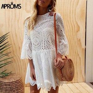 Image 2 - Aproms אלגנטי לבן הסרוגה תחרה שמלת נשים 2020 קיץ 3/4 שרוול מקרית טוניקת שמלת חוף Loose קצר שמלת Vestidos