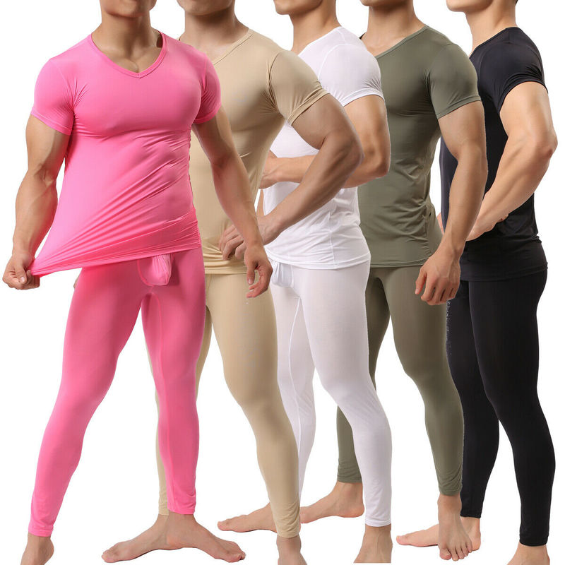 Men Trousers + Undershirts Ice Silk Penis Pouch Leggings Shorts Sleeve T-shrirts Sets Sports Bodybuilding Gym Fitness Homewear
