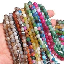 Gel naturel mat poli mat rayure Agates perles de pierre ronde perle de pierre minérale en vrac 15