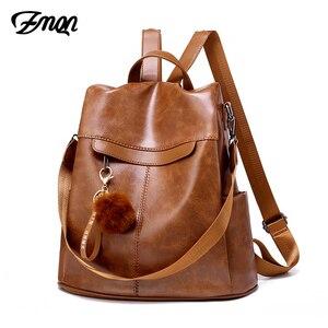 Image 1 - ZMQN Backpack Women 2020 Anti Theft Backpack Mochila Feminina Vintage Bagpack School Leather Bags For Womens Back Pack C131