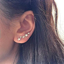 Fashion Trend Simple Star Earrings Ear Bone Ring Jewelry Designer Earrings for Women Luxury Trendy Female Star Silver gold Gifts(China)
