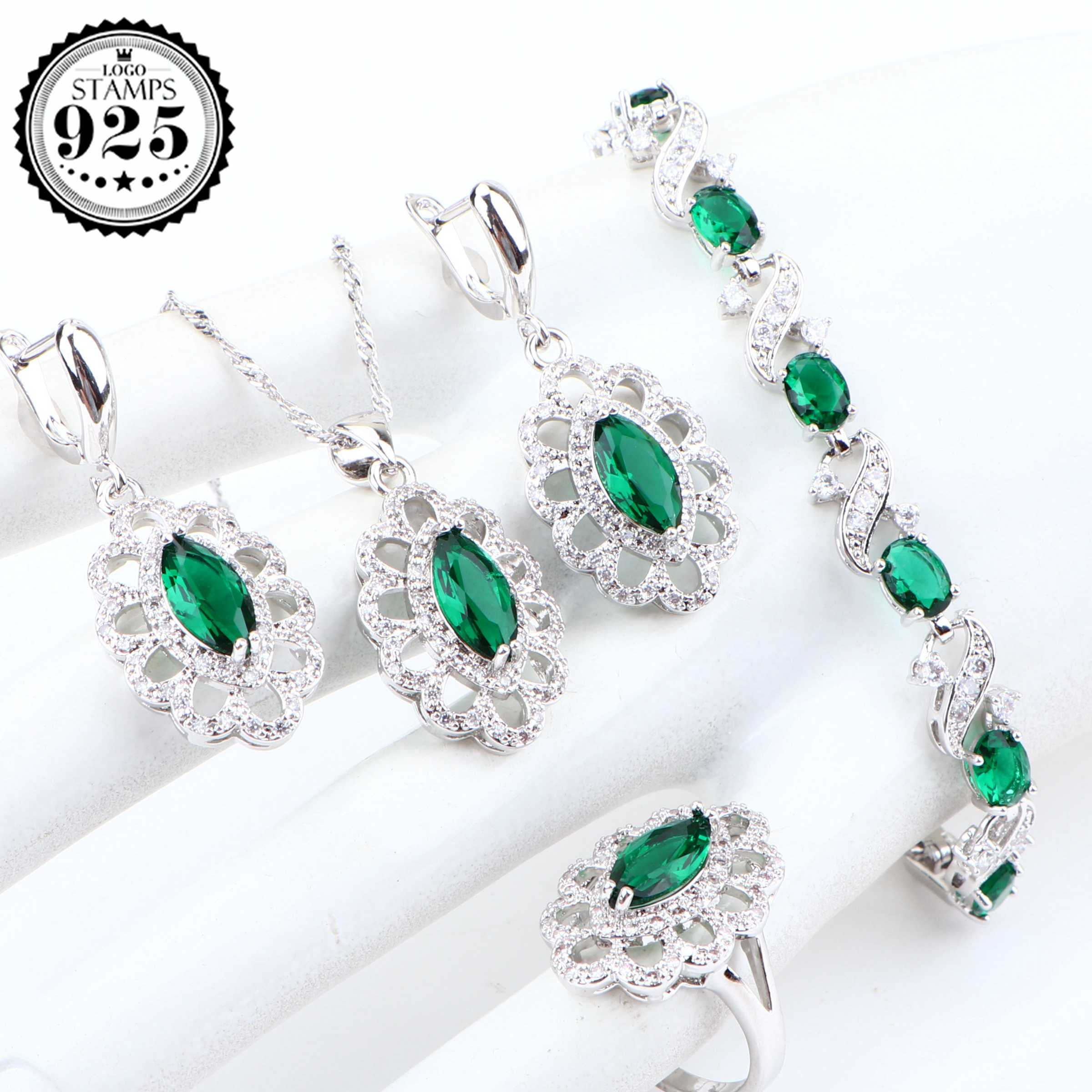 Green Zirconia Bridal Silver 925 Jewelry Sets For Women Costume