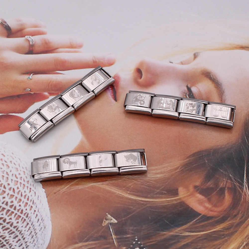 Hapiship 2019 1Pcs 9 Mm Lebar Asli Daisy 12 Rasi Pesona Fit 9 Mm Gelang Perak Stainless Steel Perhiasan membuat DJ154