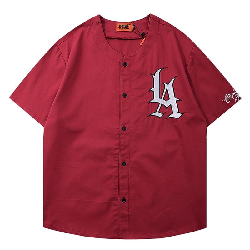 Mens Letters Embroidery Baseball Shirt Unisex Short Sleeve  t shirts 2021 Summer Oversized T shirt 100%Cotton Womens O-neck Tops