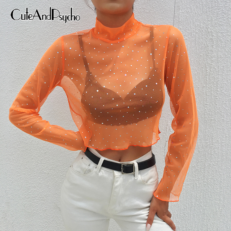 Sequined Polka Dot T-shirts Women Mesh See Through Transparent Cropped Tops Turtleneck Long Sleeve Sexy Tee Orange Cuteandpsycho
