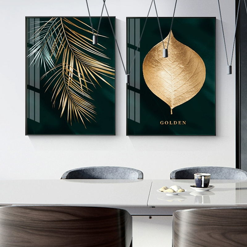 Hf7380351c6ae41fcba62ea8485a71e0dY Abstract Golden Plant Leaves Picture Wall Poster Modern Style Canvas Print Painting Art Aisle Living Room Unique Decoration