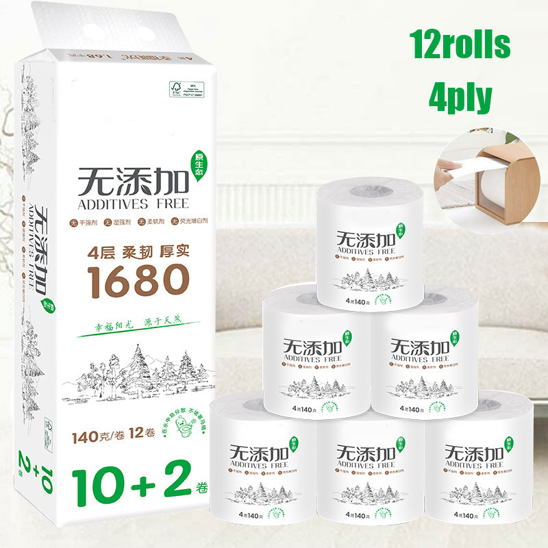 12 Roll 4-ply Ultra Strong Toilet Paper Roll Bath Bathroom Tissue Soft White For Home New FS99