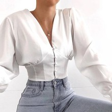 Blouses Woman Solid Color V-neck Long-sleeved Button Umbilical Slim Shirt Womens Tops and Blusas Femininas Elegante Streetwear