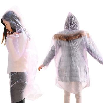 Fashion PVC Women Man Raincoat Thickened Waterproof Rain Poncho Coat Adult Clear Transparent Camping