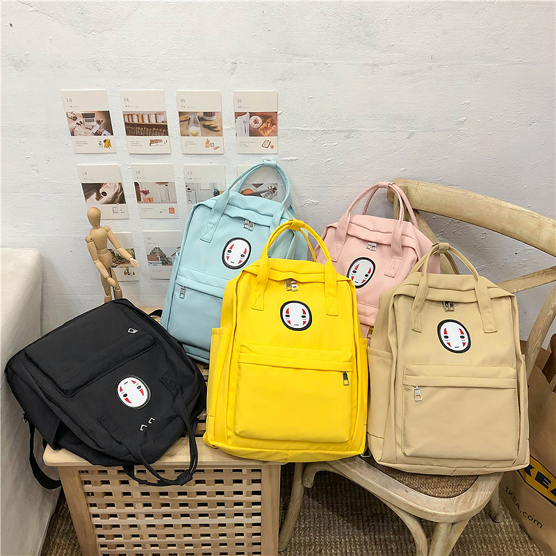 Chinese Face Women <font><b>Backpack</b></font> for Teenage Canvas <font><b>Spirited</b></font> <font><b>Away</b></font> Ulzzang Student Girls Schoolbag Female Back Packs Mochila Satchel image
