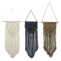 Macrame Wall Hanging Woven Geometric Flower Wall Hanging Boho Decor Farmhouse Living Room Bedroom Wall Decorations|Decorative Tapestries| |  -