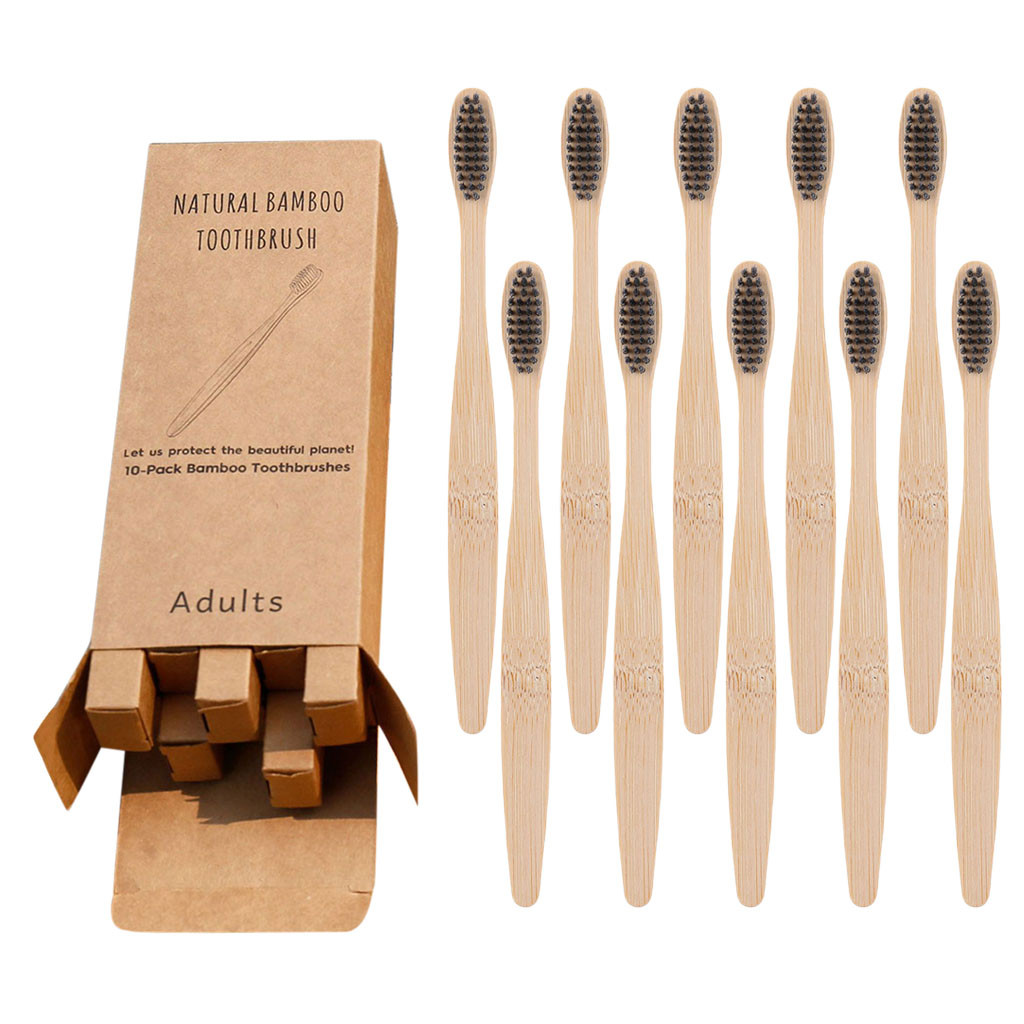 Natural Pure Bamboo Toothbrush Portable Soft Hair Tooth Brushes,Tooth Care Adult Toothbrush With Soft Extra Fine Bristles Sept image
