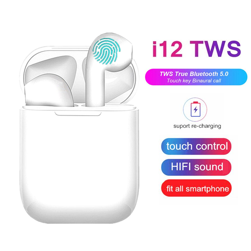 <font><b>TWS</b></font> <font><b>Wireless</b></font> <font><b>Earphones</b></font> <font><b>i12</b></font> Touch Control Earbuds <font><b>Bluetooth</b></font> <font><b>5.0</b></font> <font><b>Headphones</b></font> Sport Headsets For iPhone Xiaomi Samsung Smart Phone image