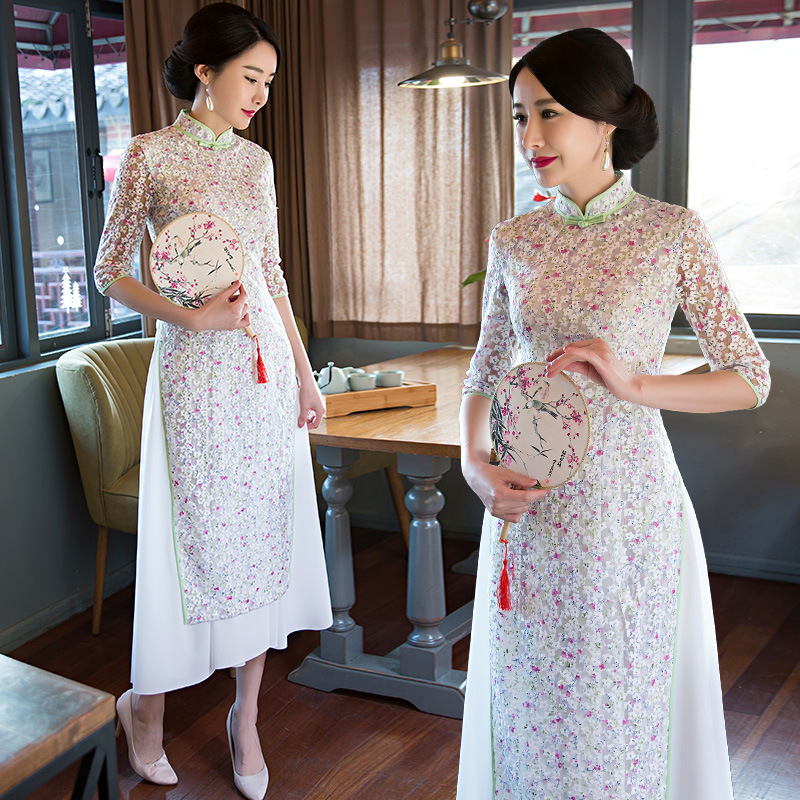 2018 New Long Audrey Cheongsam Formal Dress Elegant Women's Slim Fit Slimming Improved Lace Cheongsam