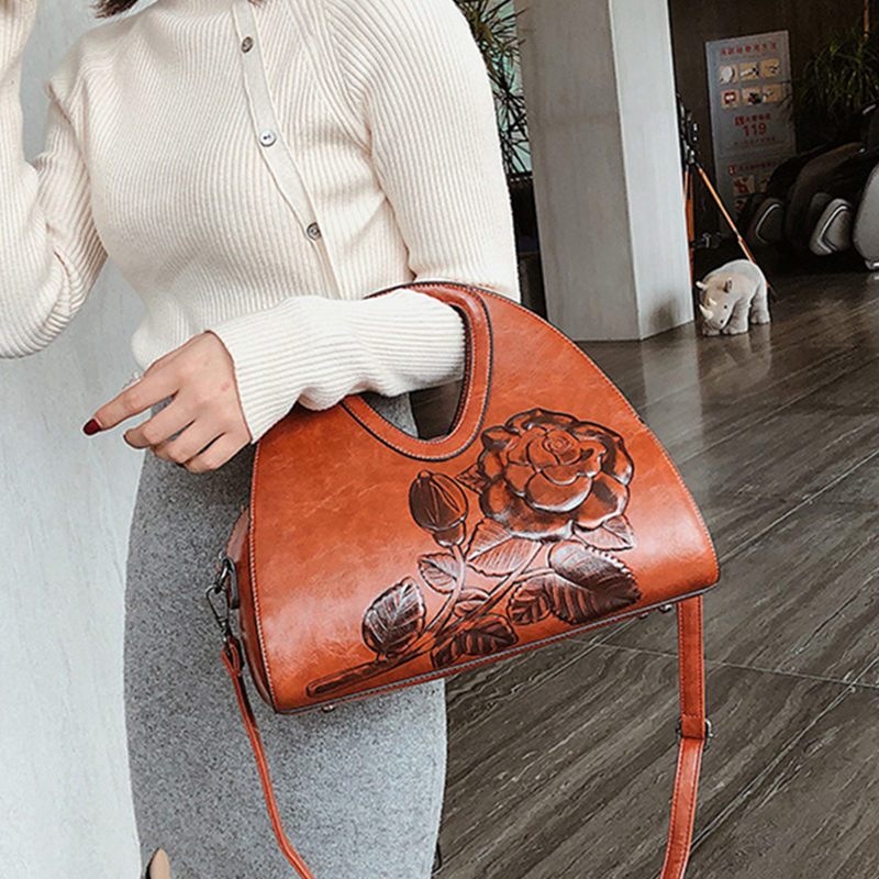 Brand Women Handbag Rose Print Lady Tote Bag High Quality Leather Shoulder Bag Large Capacity Crossbody Bags For Women 2019