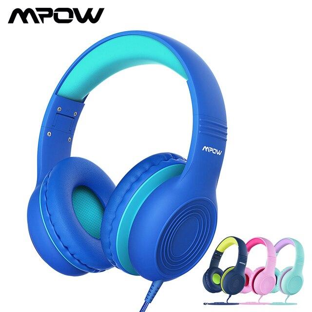 Mpow CH6 Auriculares con cable para niños Auriculares con cable ajustables y plegables con conector de audio de 3,5 mm y micrófono para niños para iPod