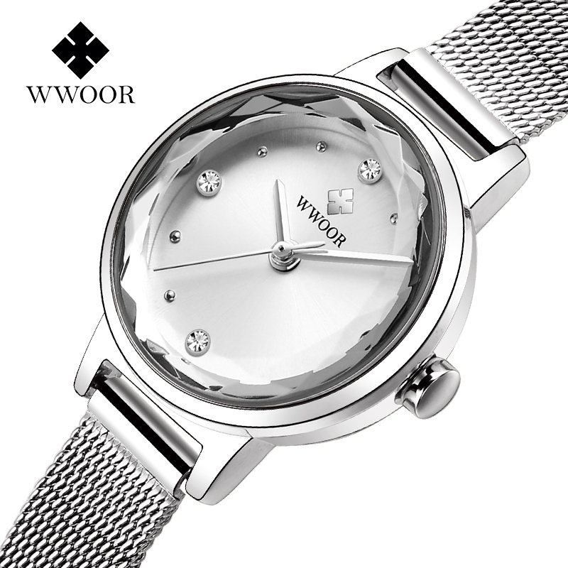WWOOR Fashion Brand Women Luxury Diamond Bracelet Watch Silver Steel Mesh Quartz Small Wrist Watch Women Clock Montre Femme xfcs