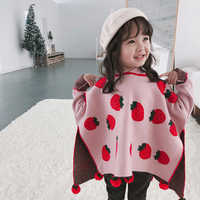 Baby Girls Knit Sweater Cloak 2019 Christmas Kids Wool Cardigan Pompom Sweaters Coat Strawberry Tops for 1-7Y Children Clothes