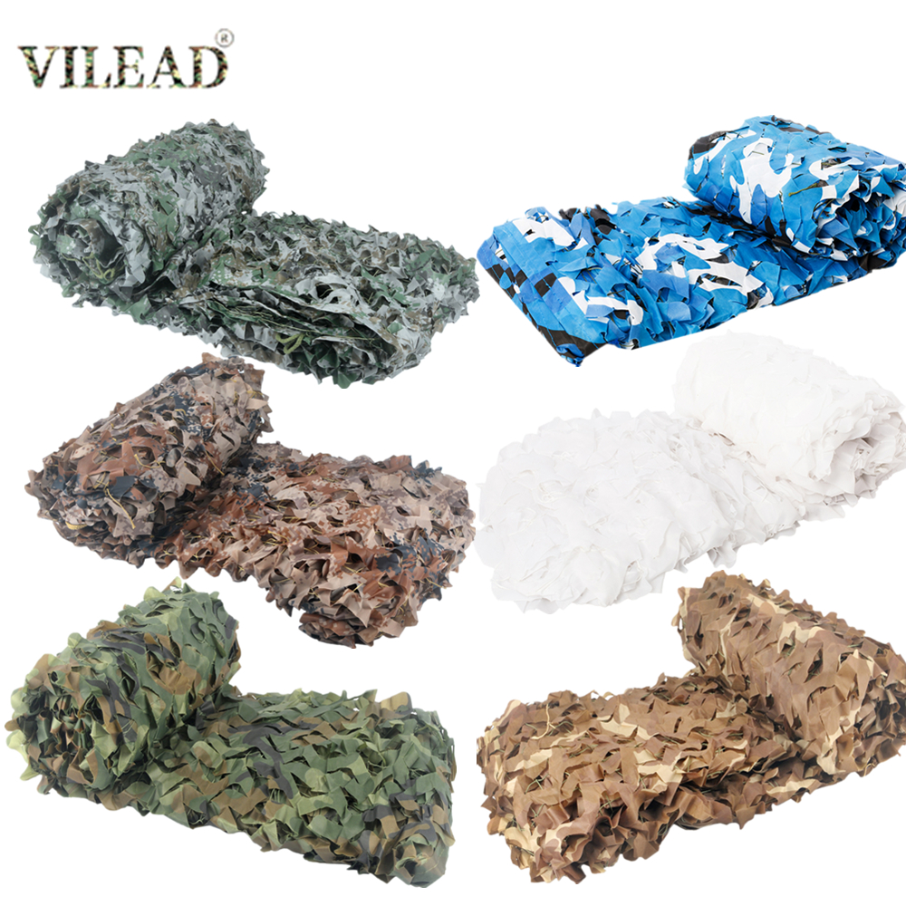 VILEAD Reinforced 2x3 3x3M Woodland Desert Digital Camouflage Nets 3x5 Hunting Military Camo Netting Mesh Rope Tent Sun Shelter(China)