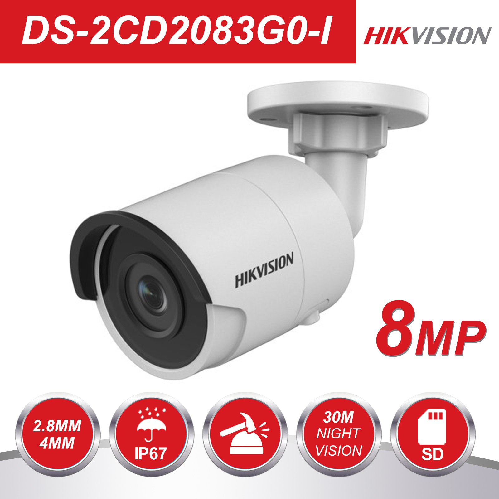 Hikvision Bullet 8MP IP Camera POE Outdoor DS 2CD2083G0 I Outdoor Security Camera H 265 with