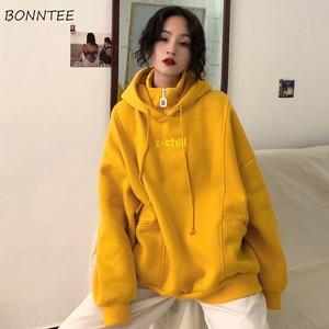 Image 1 - Capuche, vestes à capuche femmes, avec lettres brodées, en velours, épais à manches longues, sweat à capuche pour femme Harajuku, Style coréen, tendance Chic