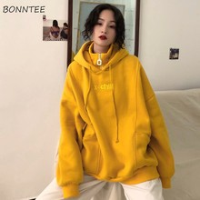 Moletom feminino com capuz, blusão de veludo grosso manga comprida com capuz, letras bordadas estilo coreano, chique