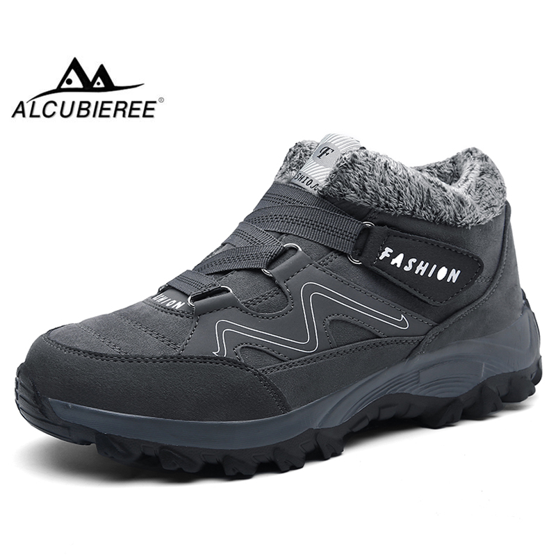 ALCUBIEREE Winter Men Warm Snow Boots Male Short Plush Arctic Boot Outdoor Slip-resistant Work Booties Man Lightweight Footwear