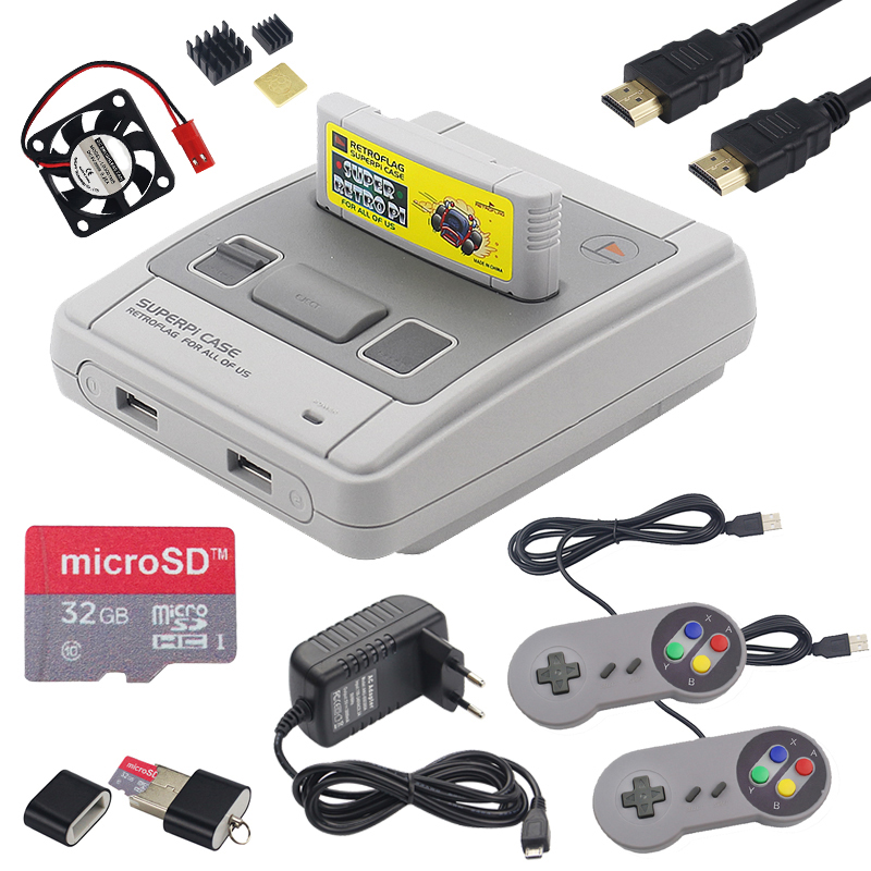 Retroflag SUPERPi CASE-J Case with Cartridge + Gamepad + 32GB SD Card + HDMI Cable + Power Adapter for Raspberry Pi 3 B+ / 3B