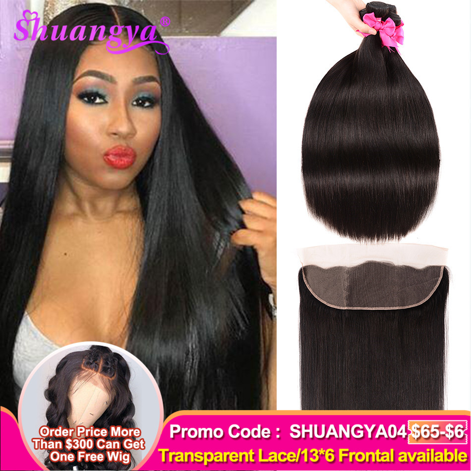 Brazilian Straight Hair Bundles With Frontal Transparent Lace Frontal With Bundles Remy 100% Human Hair 3 Bundles With Frontal