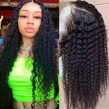 Günstige Tiefe Welle Perücken Lange Remy Lockige Spitze Front Afro Verworrene Lockige Menschenhaar Perücken für Frauen Menschliches Haar Remy fronten санлайт