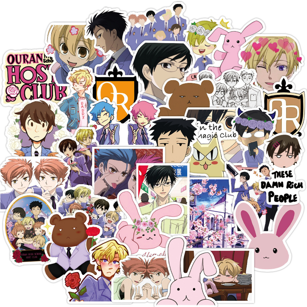 Pegatinas de Anime de Manga Ouran para Club de Host de escuela secundaria para niños, equipaje de guitarra portátil, pegatina de Graffiti impermeable, juguetes clásicos para niños, 50 Uds.