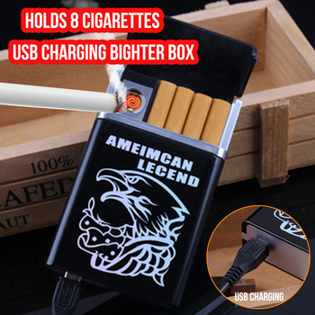 Cigarettes Electrical USB Charging Rechargeable Flameless Clamshell Box Lighter Household Merchandis