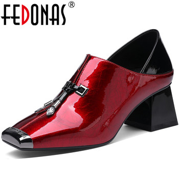 FEDONAS New Women Wedding Party Square Toe Pumps Spring Summer Metal Decoration Shoes Patent Leather Lace Up 2020 Shoes Woman