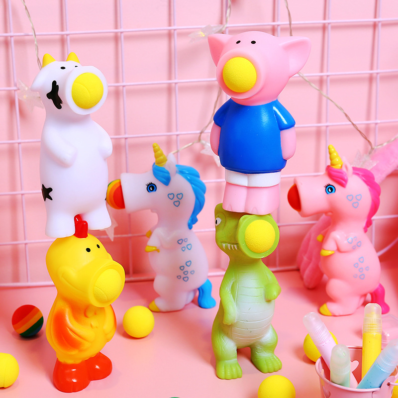 New Squeeze Popper Unicorn Assorted Blaster Animal Launching Ball Children's Gifts Decompression Toy Unicorn Squeeze Spray Ball