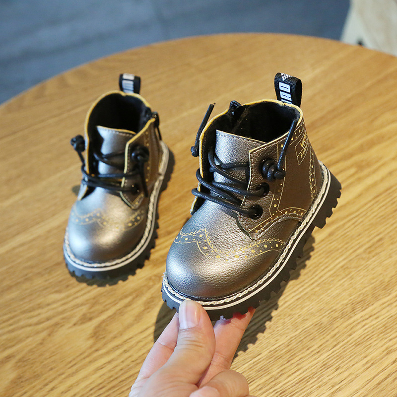 Winter  Baby Shoes  0-2 Years Children's Boots Soft Bottom Non-slip Toddler Shoes Baby Leather Boots