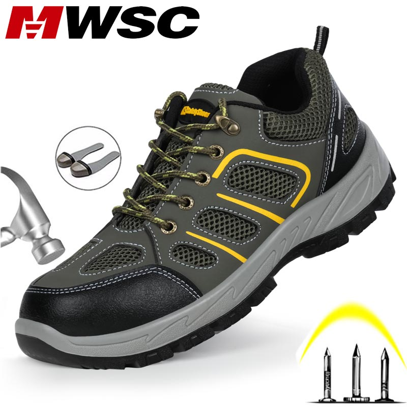MWSC Men Work Safety Shoes Boots Indestructible Steel Toe Cap Shoes Ankle Boots Outdoor Construction Safety Shoes Sneakers
