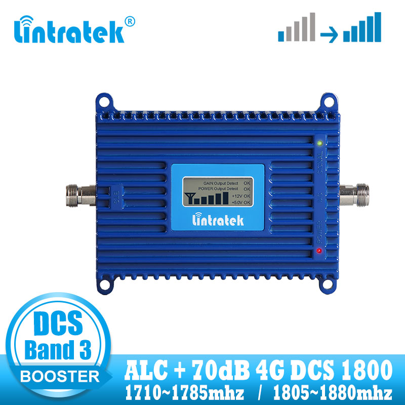 Lintratek 4G Signal Booster GSM 1800 DCS 1800MHZ Mobile Cellular Signal Booster Repeater 4G Internet Network Amplifier 70dB ALC