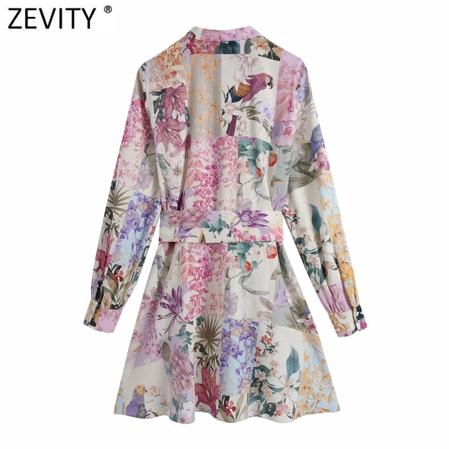 Zevity Women Stand Collar Breasted Bow Sashes Shirtdress Female Patchwork Floral Print Vestidos Chic A Line Mini Dresses DS8255 2