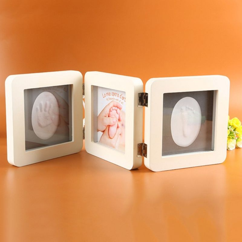 Baby Photo Frame Album 3 Folds Newborn Hand And Foot Prints Photos Frames Infants Birth Growth Commemorative Bath Gifts 23GD