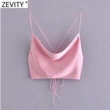 Zevity Neue Frauen Fashion Spaghetti Strap Sexy Chic Rosa Camis Tank Damen Sommer Backless Lace Up Satin Crop Sling Tops LS9207
