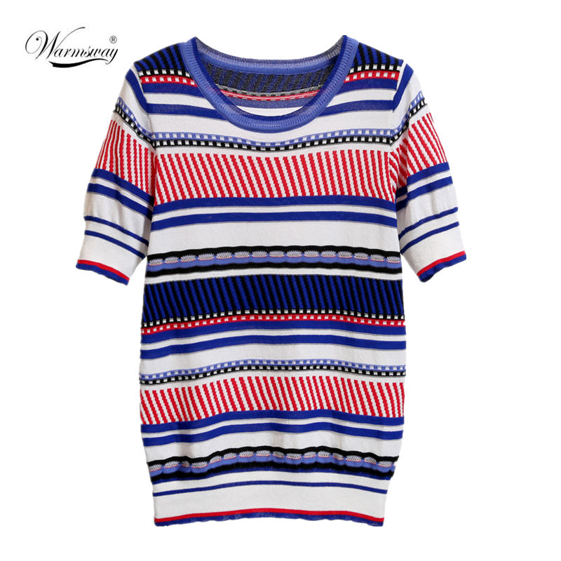 Contrast Color Stripes Knitted Top Women T-shirt Short-sleeved  Sweaeter Summer High Quality O-Neck Pullover Tops CY-115