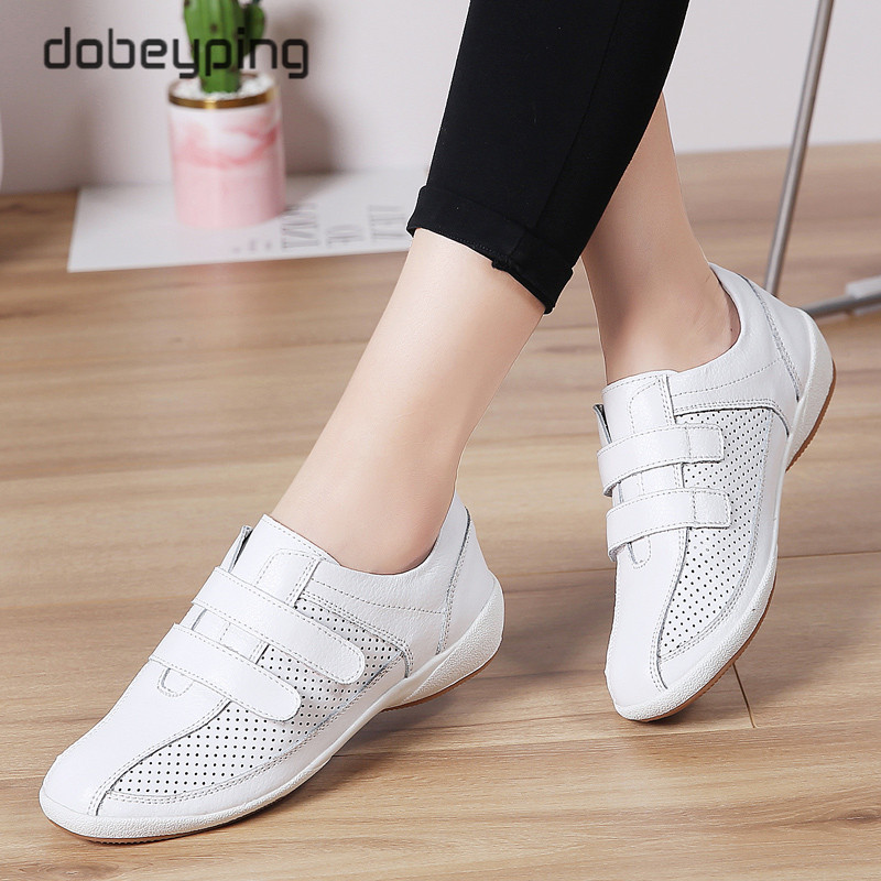 Autumn Women Sneakers Cut-Out Woman Loafers Genuine Leather Female Shoes Low Heels Women'n White Flats Ladies Oxfords Size 36-42