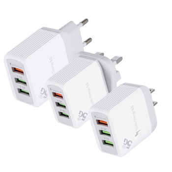 3 Port Fast Quick Charging Wall Charger QC 3.0 USB Hub Power Adapter EU/US and UK Plug