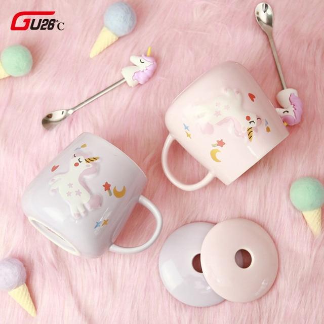 Novelty Cartoon Unicorn Coffee Mug with Lid and 3D Unicorn Star Spoon Pink Coffee Milk Tea Cup Creative Gift for Girls 1