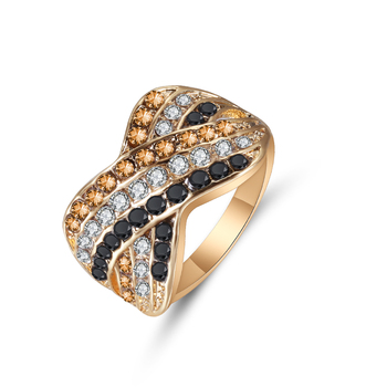 Ladies Ring Black White And Yellow Color Three Rows Zircon Geometric Cross Ring Fashion Banquet Engagement Ring 1