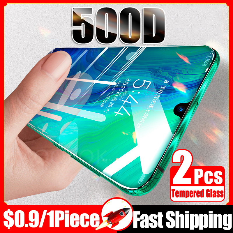2Pcs 500D Tempered Glass For Huawei P40 P30 P20 Lite P Smart 2019 Screen Protector Protective On For Huawei Mate 20 Lite Glass(China)