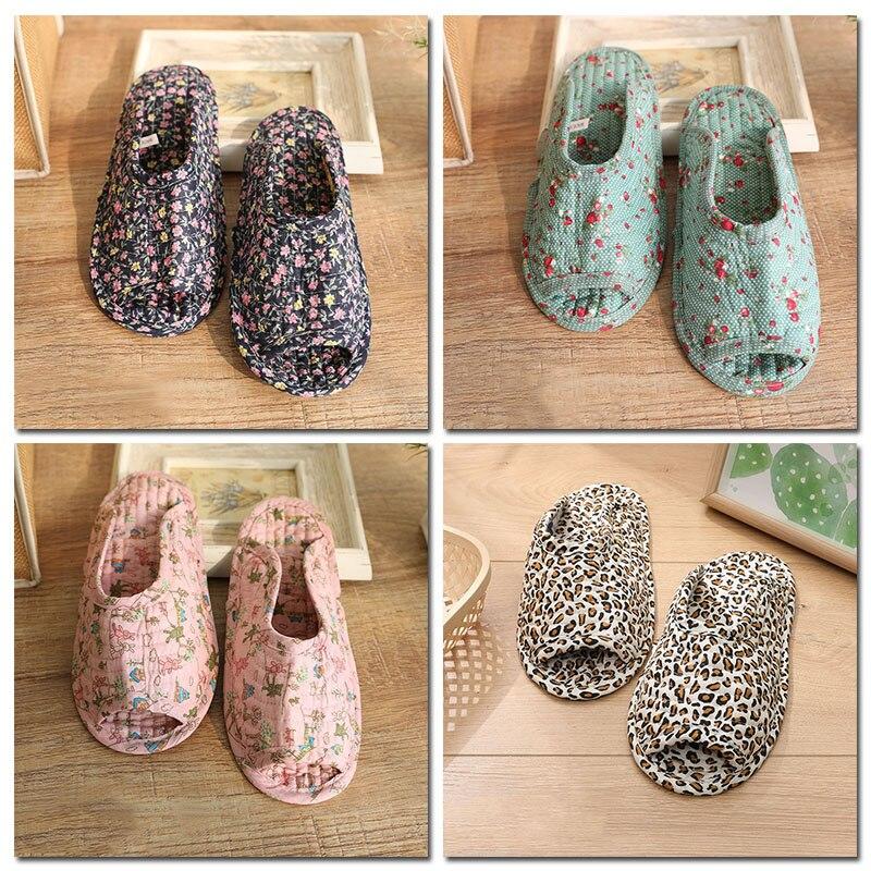 Женские мягкие домашние тапочки на плоской подошве в этническом стиле с цветочным рисунком; Домашние тапочки из хлопчатобумажной ткани с открытым носком; Удобная обувь|Тапочки|   | АлиЭкспресс